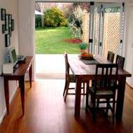 Dinning room with solid wood flooring