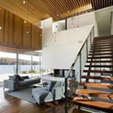 wood stair and wall panel